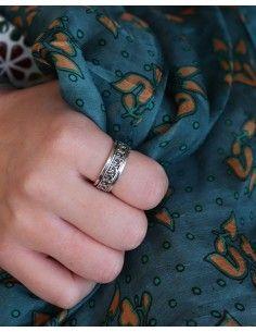 Bague argent anti-stress à motifs ethniques - Mosaik bijoux indiens 2