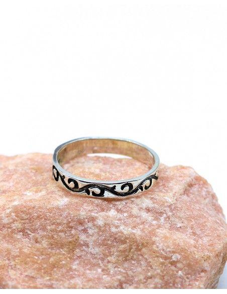 Bague argent fine anneau à motifs - Mosaik bijoux indiens