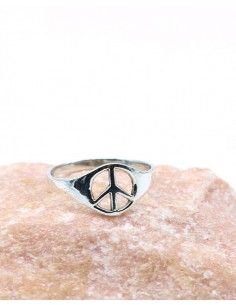 Bague argent fine peace and love