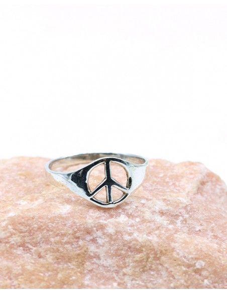 Bague argent fine peace and love - Mosaik bijoux indiens