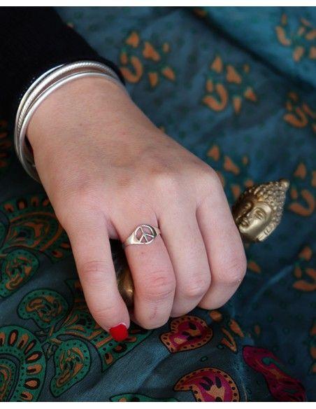Bague argent peace and love fine - Mosaik bijoux indiens