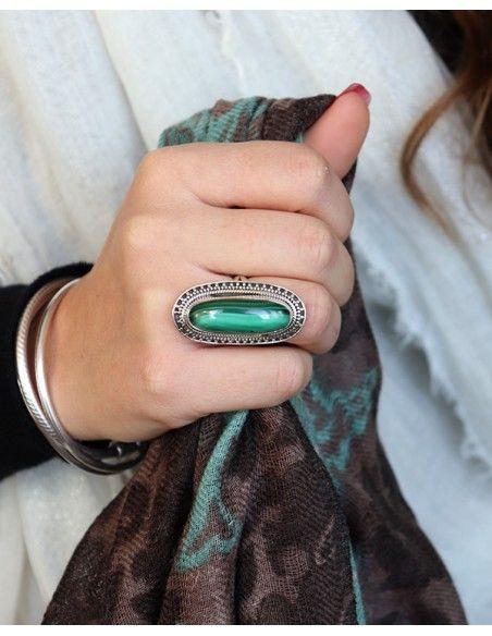 Grosse bague argent indienne et Malachite - Mosaik bijoux indiens