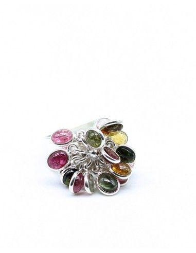 Bague argent et pierres naturelles - Mosaik bijoux indiens