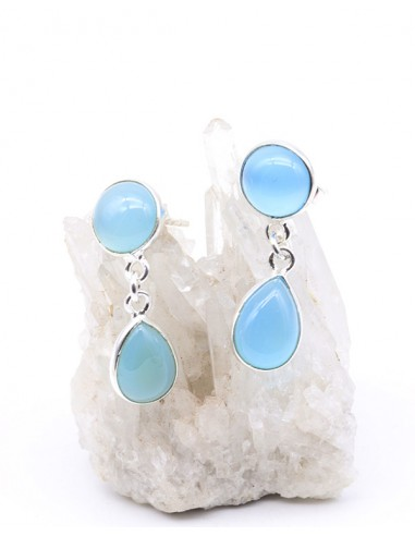 Boucles d'oreilles en argent et onyx bleu pendantes