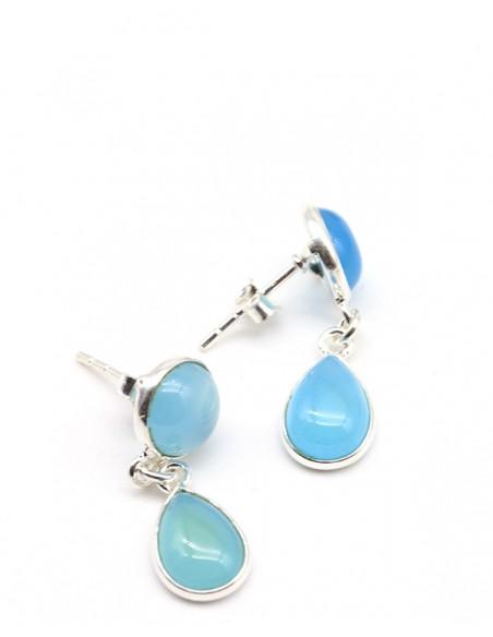 Clous d'oreilles pendants en argent et onyx bleu