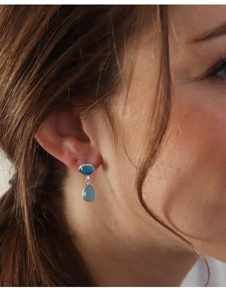 Boucles d'oreilles argent et onyx bleu ronds
