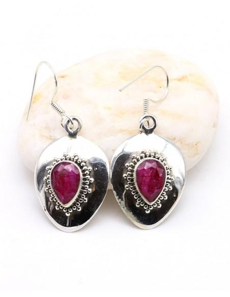 Boucles d'oreilles argent pendantes et rubis