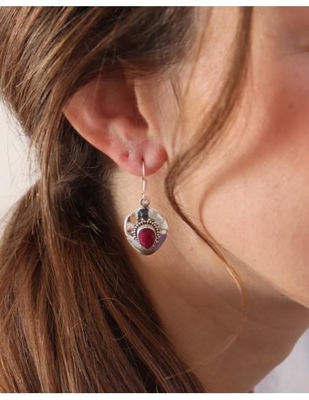 Boucles d'oreilles argent indiennes et rubis indiens
