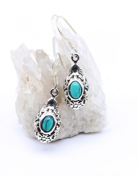 Boucles d'oreilles pendantes en argent et turquoise
