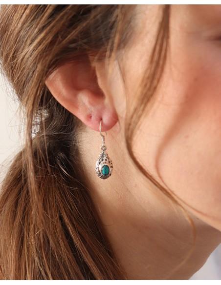 Boucles d'oreilles argent et turquoise ethnique