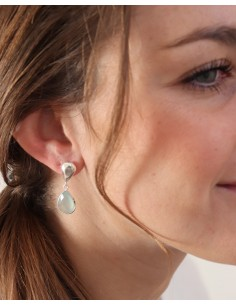 Clous d'oreilles argent pendants et calcédoine 2