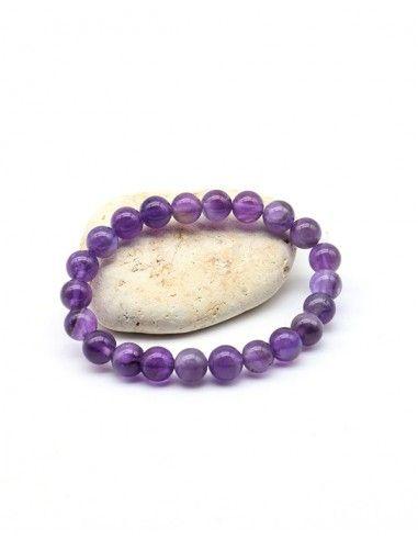 Bracelet améthyste perles 8mm - Mosaik bijoux indiens