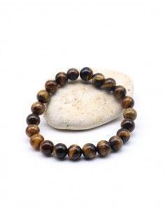 Bracelet en oeil de tigre grosses perles élastique