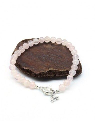 Bracelet quartz rose perle ronde - Mosaik bijoux indiens