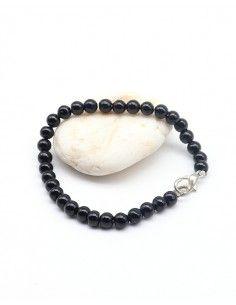 Bracelet onyx noir perles rondes - Mosaik bijoux indiens