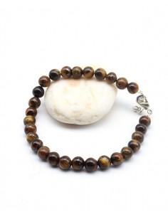 Bracelet oeil de tigre naturelle perles 6mm - Mosaik bijoux indiens