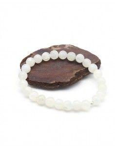 Bracelet en pierre de lune élastique perles rondes