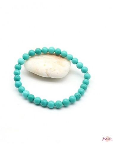 Bracelet en pierre turquoise élastique 6mm