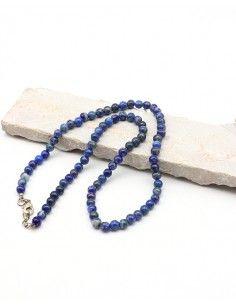 Collier lapis lazuli perles 6mm - Mosaik bijoux indiens
