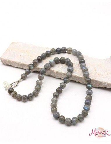Collier perles rondes 6mm en labradorite - Mosaik bijoux indiens