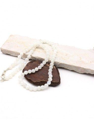 Collier pierre de lune naturelle en perles rondes - Mosaik bijoux indiens