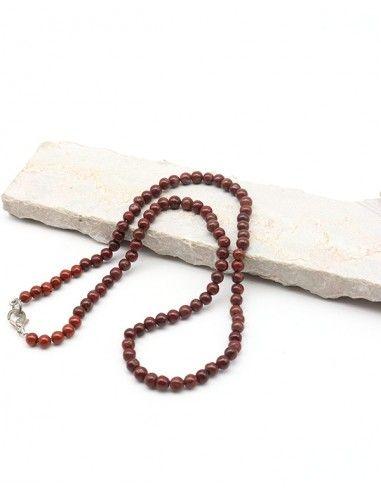 Collier perles rondes en jaspe naturelle - Mosaik bijoux indiens