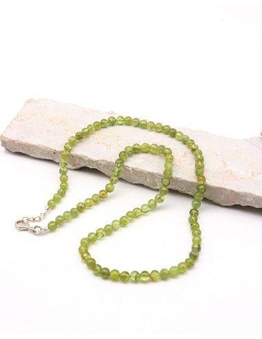Collier en perles rondes et péridot - Mosaik bijoux indiens
