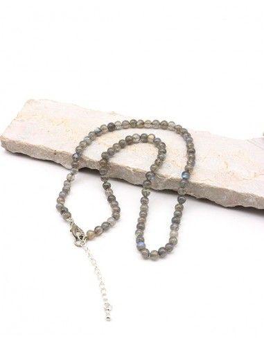 Collier labradorite naturelle en perles rondes - Mosaik bijoux indiens