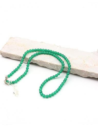 Collier agate verte perles rondes - Mosaik bijoux indiens