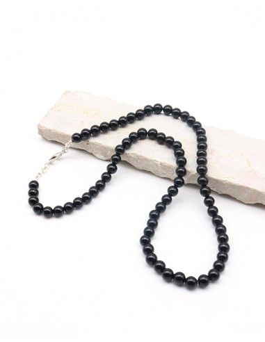 Collier onyx naturel perles rondes - Mosaik bijoux indiens