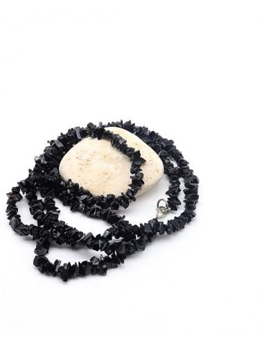 Long collier onyx concassé - Mosaik bijoux indiens