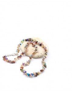 Collier pierres naturelles en pierres concassées - Mosaik bijoux indiens