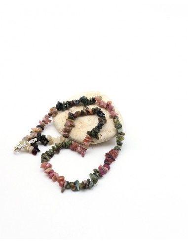 Collier tourmaline naturelle en pierres concassées - Mosaik bijoux indiens