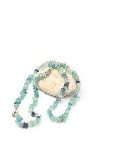 Collier fluorite naturelle en perles concassées - Mosaik bijoux indiens