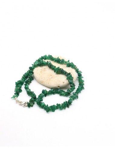 Collier agate verte naturelle en pierres concassées - Mosaik bijoux indiens