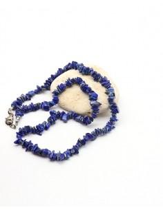 Collier lapis lazuli naturel en pierres concassées - Mosaik bijoux indiens