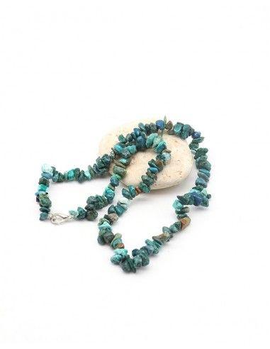 Collier chrysocolle en pierres concassées - Mosaik bijoux indiens