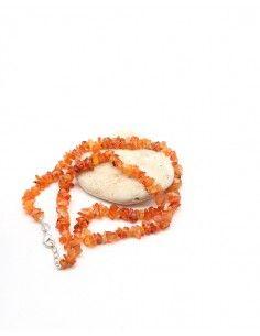 Collier cornaline naturelle en pierres concassées - Mosaik bijoux indiens