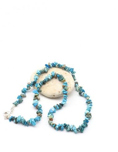 Collier turquoise naturelle en pierres concassées - Mosaik bijoux indiens