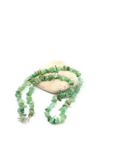 Collier chrysoprase naturelle en perles concassée - Mosaik bijoux indiens