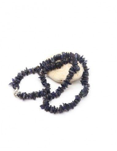 Collier iolite naturelle et pierres concassées - Mosaik bijoux indiens