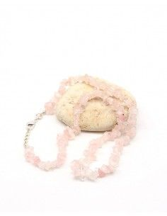 Collier quartz rose naturel en pierres concassées - Mosaik bijoux indiens