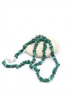 Collier malachite naturelle et pierres concassées - Mosaik bijoux indiens