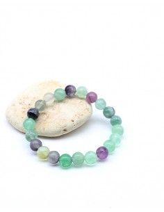 Bracelet en fluorite élastique perles 8mm