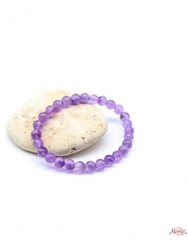Bracelet améthyste pierres rondes élastique - Mosaik bijoux indiens