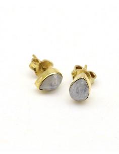 Boucles d'oreilles dorées et pierre de lune - Mosaik bijoux indiens