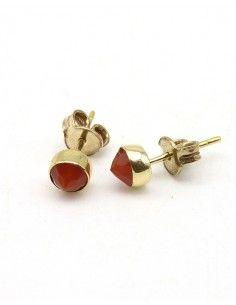 Boucles d'oreilles dorées et cornaline - Mosaik bijoux indiens