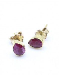 Boucles d'oreilles dorée et rubis indiens - Mosaik bijoux indiens