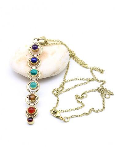 Collier 7 chakras laiton et pierres naturelles - Mosaik bijoux indiens