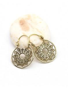 Petites boucles d'oreilles créoles rondes en laiton - Mosaik bijoux indiens